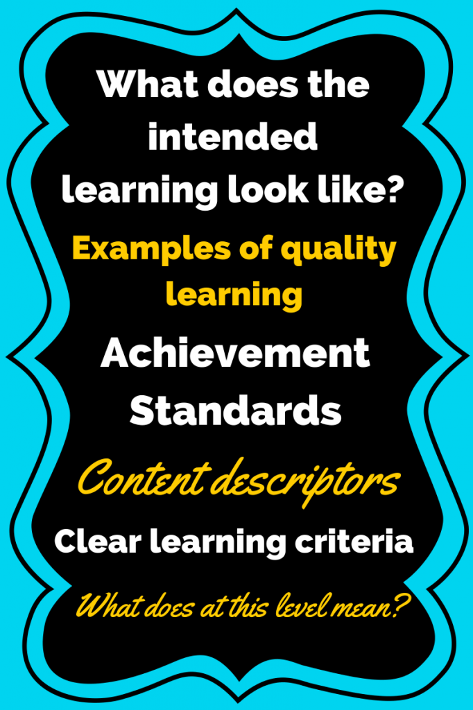 Intended learning look like